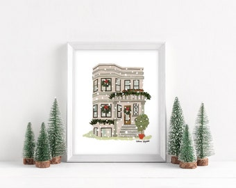 "Holidays in Chicago - Greystone Print, 8x10"""