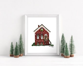 """Holidays in Chicago - Workers Cottage Print, 8x10"""""""