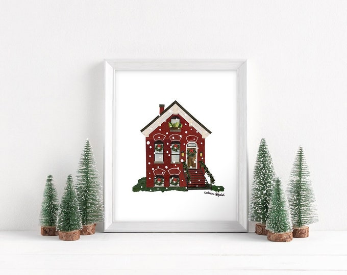 """Featured listing image: Christmas in Chicago - Workers Cottage Print, 8x10"""""""