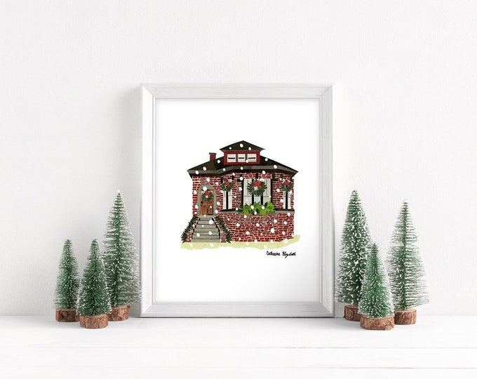 """Featured listing image: Christmas in Chicago - Bungalow Print, 8x10"""""""