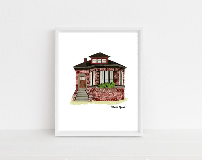 """Featured listing image: """"Chicago Bungalow"""" Print, 8x10"""""""