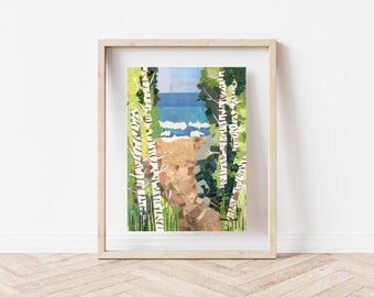 """Lake Michigan Between the Birch"" Print, 8x10"""