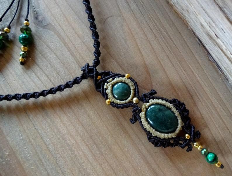 Gemstone Necklace Goddess Necklace Moss Agate Macrame Necklace Birthday Gift Boho Necklace Pendant Necklace Micromacrame Pendant