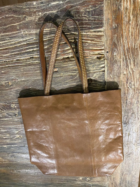 AND/OR Tan Leather Tote