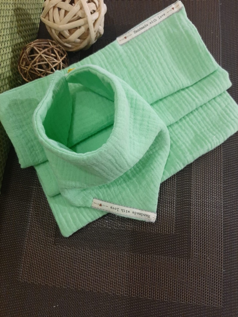 Baby shower gift Burp cloth and bib 3 layer Baby burp rag and bib with button closure 100/% double layer muslin cotton