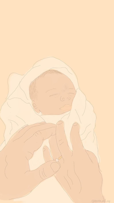 Grandparents newborn gift Custom Coloured milestone line drawings Baby Portraits Family Portraits