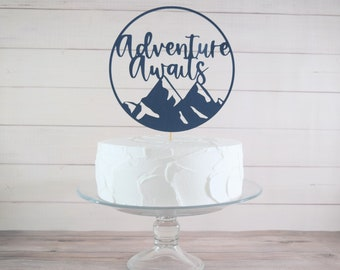 Adventure Awaits Cake Topper, Rustic Mountain Baby Shower Cake Topper, Boy Baby Shower Decorations, Coed Baby Shower