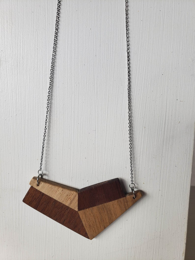 Abstract Heart Reclaimed Wood Large Statement Pendant with Stainless Steel Chain