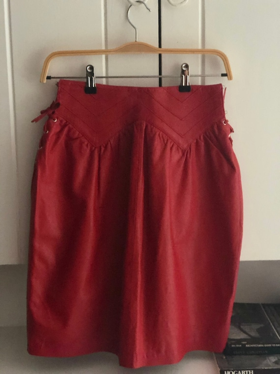 Rare Italian Red Leather Vintage Shirt With Leath… - image 1