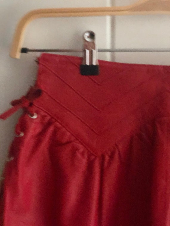 Rare Italian Red Leather Vintage Shirt With Leath… - image 2