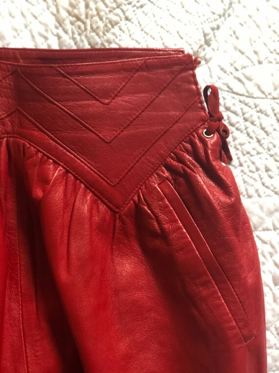 Rare Italian Red Leather Vintage Shirt With Leath… - image 6