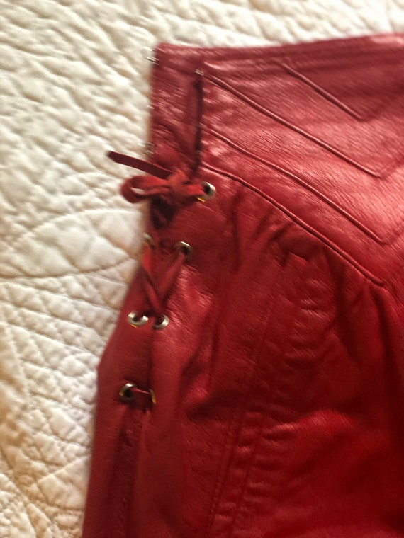 Rare Italian Red Leather Vintage Shirt With Leath… - image 7