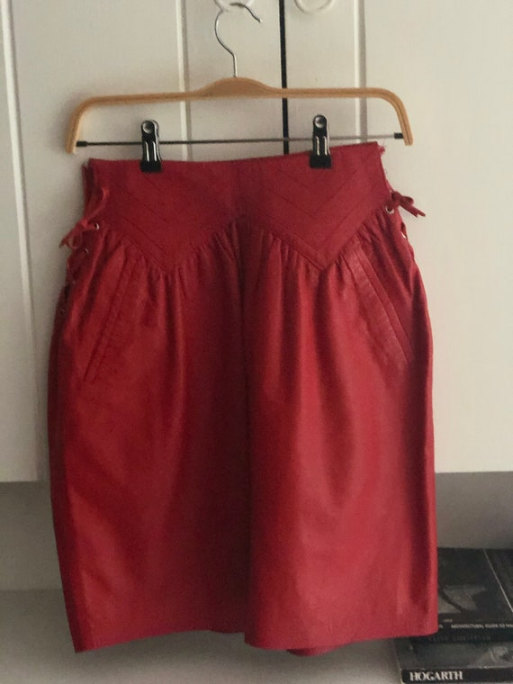Rare Italian Red Leather Vintage Shirt With Leath… - image 3