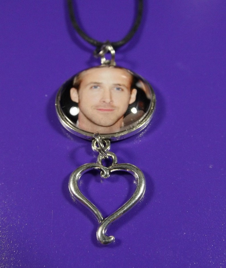 Ryan Gosling Necklace Pendant With Heart Charm Includes 22 Black Cord Necklace Ryan Gosling Gift For Women