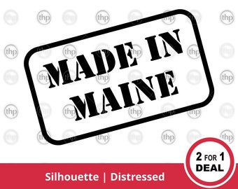 Maine State Flag Square Rubber Stamp for Stamping Crafting