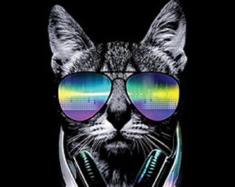 Funny DJ Cat Tank Top Music Kitten Headphones and Glasses
