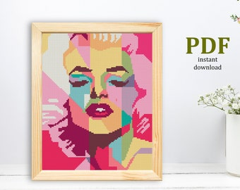PDF pattern instant download! Artwork by Hannah Alexander cross stitch pattern Marilyn Monroe cross stitch Marilyn Monroe