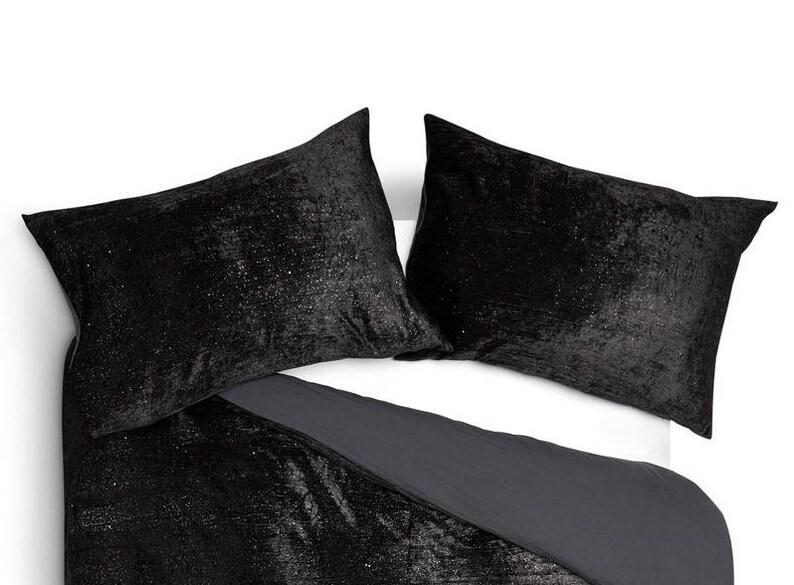 Velvet Decorative Throw Pillow Velvet Euro Sham Cover 2 Pcs Set Black Velvet Cushion cover Bohemian Pillow Velvet Pillow Cover 20x20