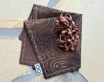 Handmade EDC Hank Hanky Everdaycarryhank Handkerchief Paisley grey black