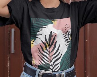 Leaves Tshirt Trendy T-shirt Art T-shirt Stylish Tshirt Abstract tshirt,Aesthetic Tee Spring T-shirt,Summer Tropical Print Modern Tee