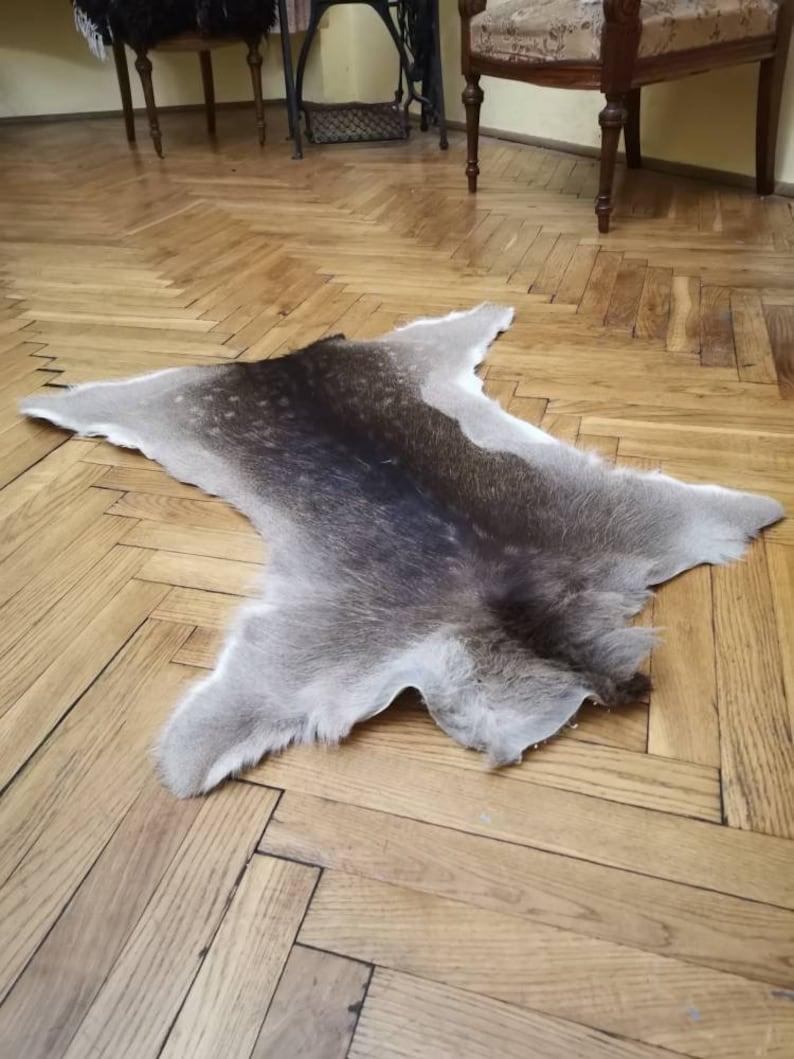 Living Room Hallway Natural Carpet Fireplace Ornament Gothic Shamanic Healing Home Decor Arts Dama Dama Fallow Deer Skin Hide Area Rug Fur