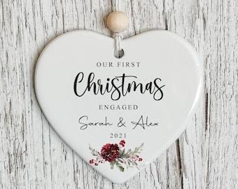 First Christmas Engaged | Christmas Tree Decoration | Personalised Ceramic Bauble Heart | Engagement Gift STYLE2