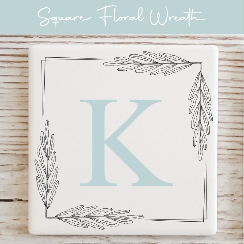 Personalised Ceramic Coaster  Custom Initial and Name Coaster  Gift for Her  Gift for Him  Floral Wreath Design
