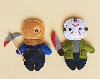JASON VOORHEES Friday 13th tiny rag doll. Horror style doll. Creepy cute gothic. 80's horror movie. Viernes 13. Dark art