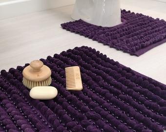 Bobble Bath Mat Luxury Satin Super Soft Slip Resistant Pedestals Bathroom Mats