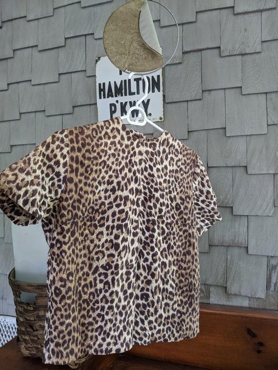 Vintage Button-Back Leopard Blouse -- MEOW!