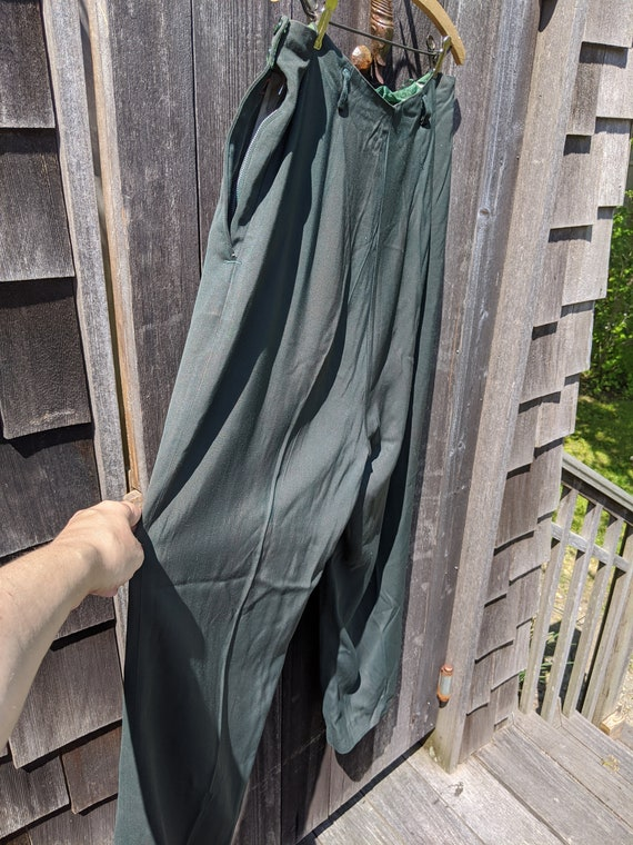 Dark Green Rayon 1940s Side-Zip Women's Pants - image 4