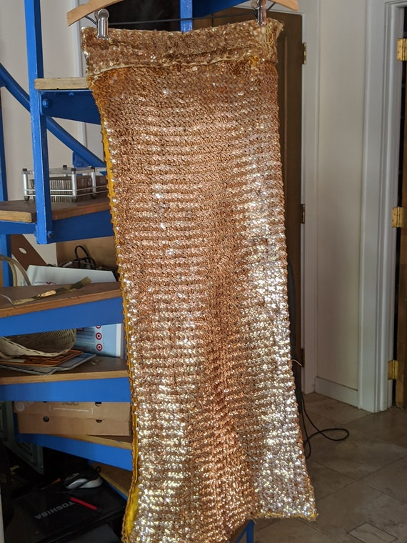 Vintage Golden Sequin Panel Skirt -- Rare Burlesqu
