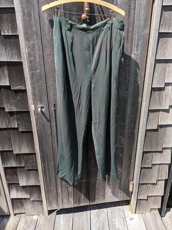 Dark Green Rayon 1940s Side-Zip Women's Pants - image 2