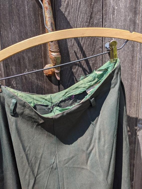 Dark Green Rayon 1940s Side-Zip Women's Pants - image 5