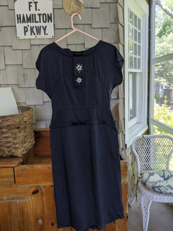 Navy 1950s Bustle-back Pencil Dress with Beaded De