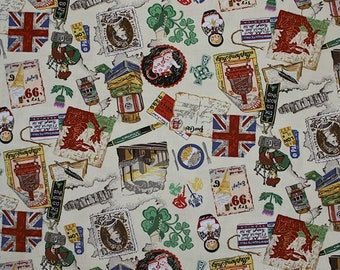 VINTAGE UK FABRIC | Home Nations | England | Wales | Scotland | Northern Ireland Victorian | Novelty | 100% Cotton | Sewing | Dressmaking