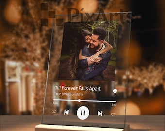 Personalized Gift Glass Art First Anniversary Gift for Boyfriend Custom Album Cover Music Plaque, Personalize Gift with Photo, Wedding