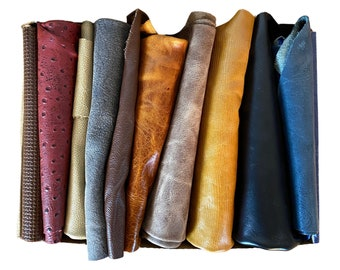 """Big Square Scraps of Beautiful Italian Leather (approx. 12"""" x 12"""" Squares) - Offcuts/Pieces/Scraps"""