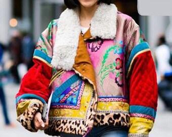 Women's Boho Patchwork Print Retro Lightweight Warm Jacket in Sizes S-XL
