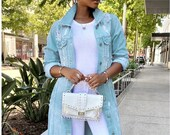 Distressed Long Denim Jacket Dress Coat Vintage Style Streetwear Light Blue in Sizes S-XXXL Uk