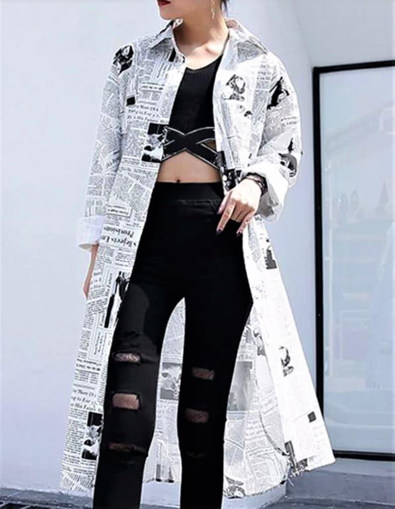 Newspaper Print Dress Overshirt in Streetwear Oversize Style Fits 8-18Uk