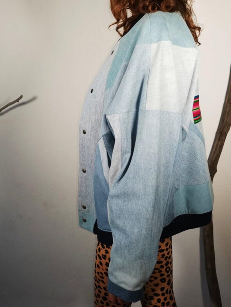 Upcycled denim jacket patchwork bomber jacket denim zerowaste