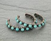 Turquoise semi hoop earrings