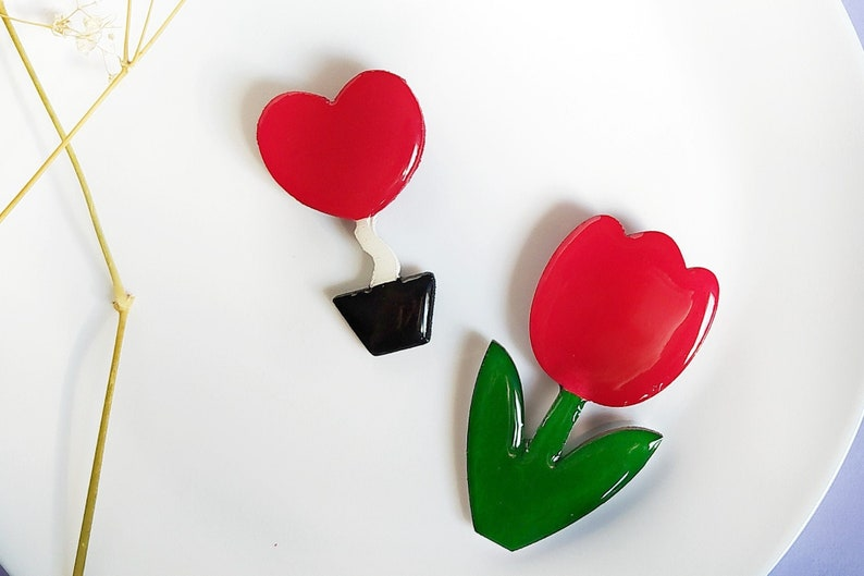 red jewellery tulip jewelry gifts unique colored floral gifts for mom wooden spring jewelry Red tulip flower brooch and red heart brooch
