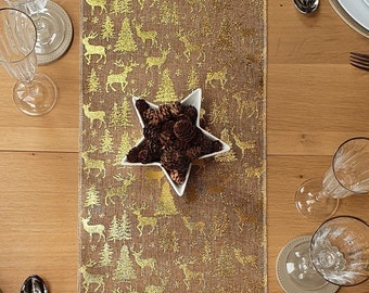 Gold Christmas Table Runner with Scandi style Reindeer and Stags design