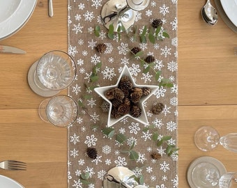 White Christmas table runner with Scandi snowflake design in hessian style 190cm