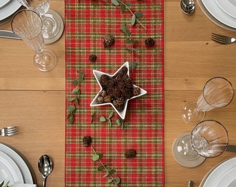 Red Tartan Christmas Table Runner, Green and Gold Plaid Check Scottish Design