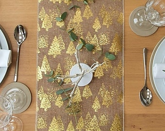 Gold Christmas Table Runner with Scandi style tree design