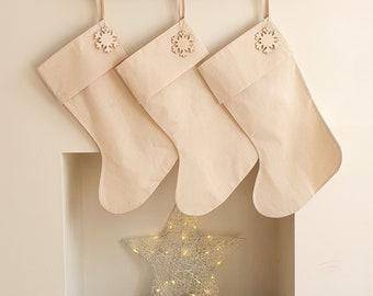 Large Cream Scandi Christmas Stockings | Beige Minimalist Stockings | Handmade Scandinavian Style Stocking