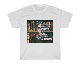 SCOTUS Justice Ruth Bader Ginsburg RBG Power of Reading with Scales of Justice Unisex Cotton T-shirt , Feminist, Role Model